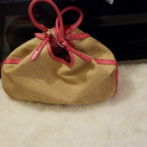 Cole haan leather and straw hobo bag